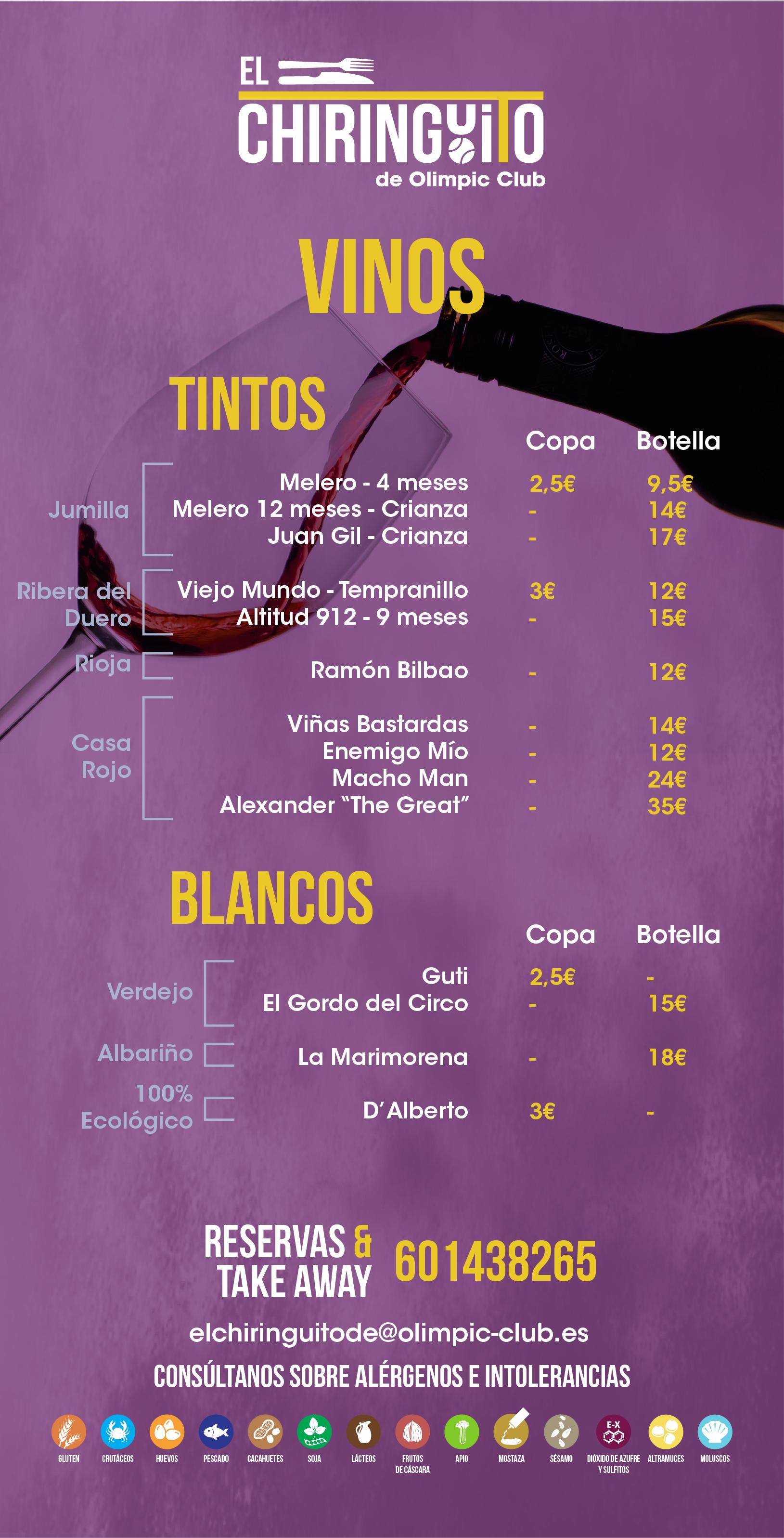 Carta vinos ElChiringuito de Olimpic Club